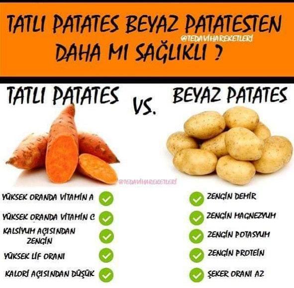 tatlı patates,beyaz patates