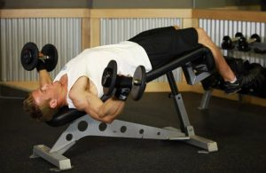 decline dumbell fly